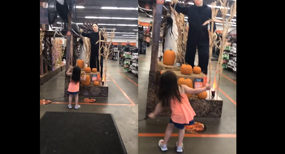 The Spooky Spirit: Fearless Little Girl Dances With Michael Myers Display