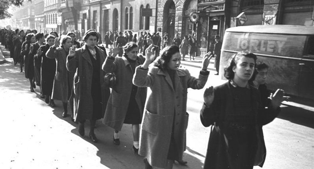Hungarian Jews being rounded up in Budapest during the Second World War.