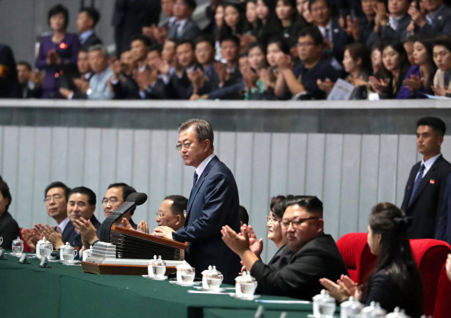 South Korean President Moon Jae-in delivers his speech after watching the performance titled The Glorious Country at the May Day Stadium in Pyongyang, North Korea, September 19, 2018.