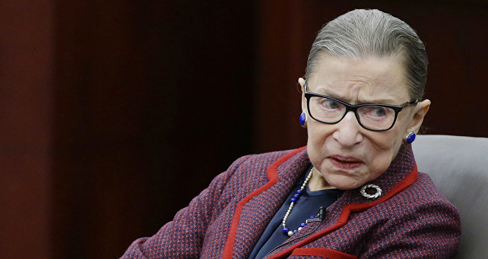 Supreme Court Justice Ruth Bader Ginsburg participates in a fireside chat in the Bruce M. Selya Appellate Courtroom at the Roger William University Law School Tuesday, Jan. 30, 2018, in Bristol, R.I.