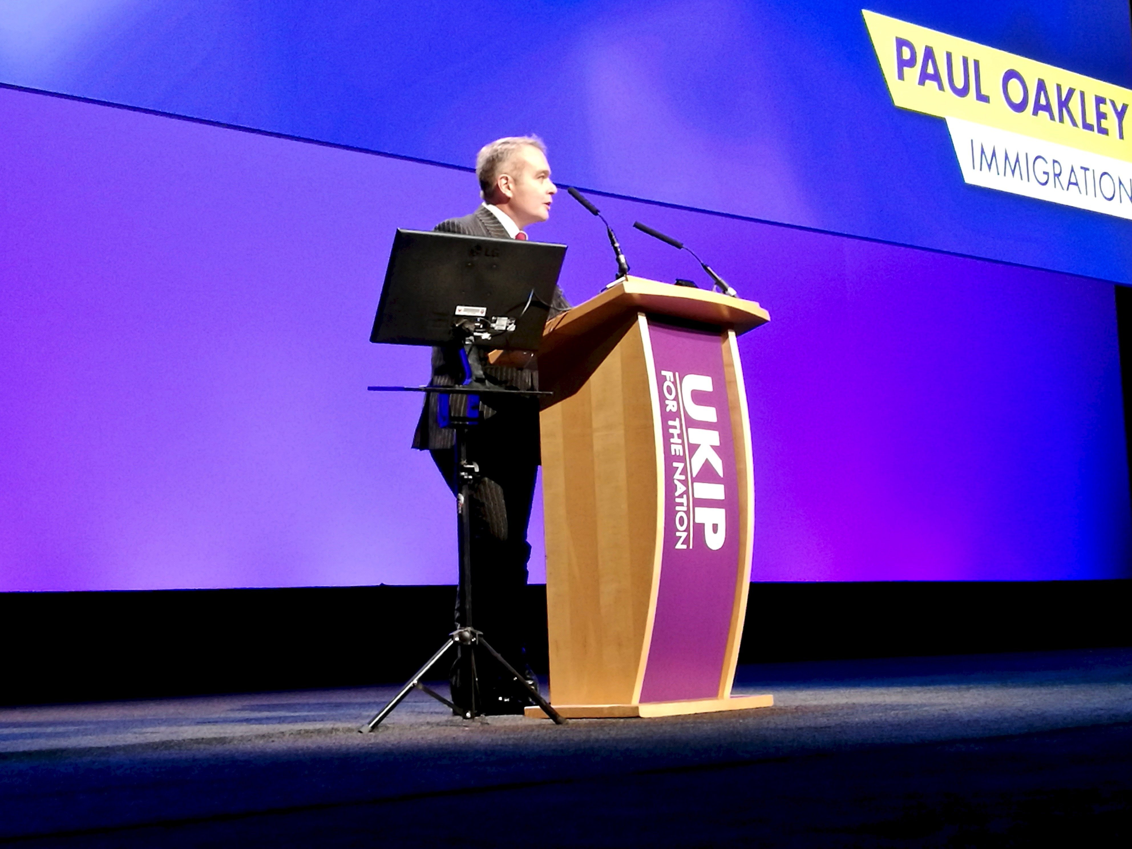Paul Oakley Speaks about UKIP's new immigration policy at 2018 UKIP Conference in Birmingham