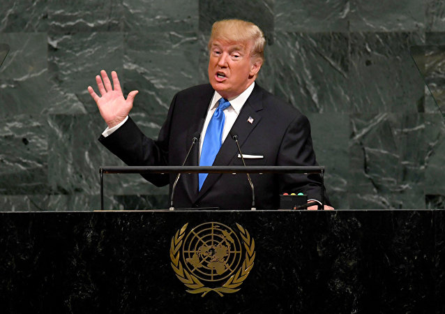 (FILES) In this file photo taken on September 19, 2017 US President Donald Trump addresses the 72nd Annual UN General Assembly in New York