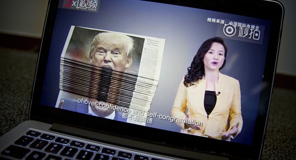 An online video about U.S.-China trade tensions produced by China's state television broadcaster plays on a computer screen in Beijing, China, Thursday, Aug. 23, 2018