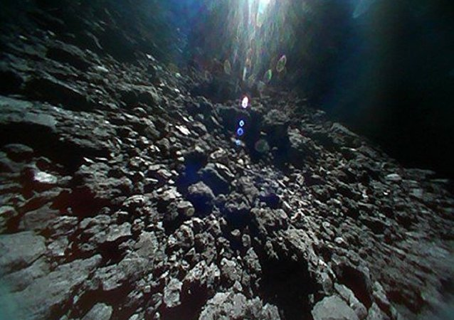 A photo taken from the surface of Ryugu asteroid