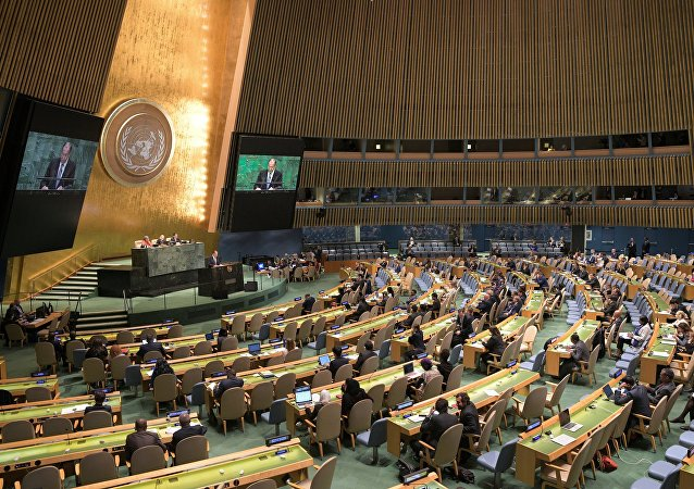 Russian Foreign Minister Sergei Lavrov at the UN General Assembly.