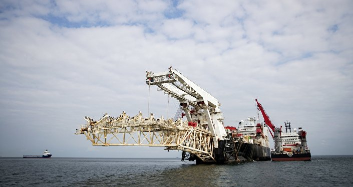 Nord Stream 2 pipeline construction underway in Finnish waters in the Baltic Sea.