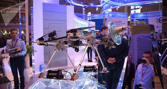 Demonstration of the overhead transmission line control system at the Russian Energy Week (File)