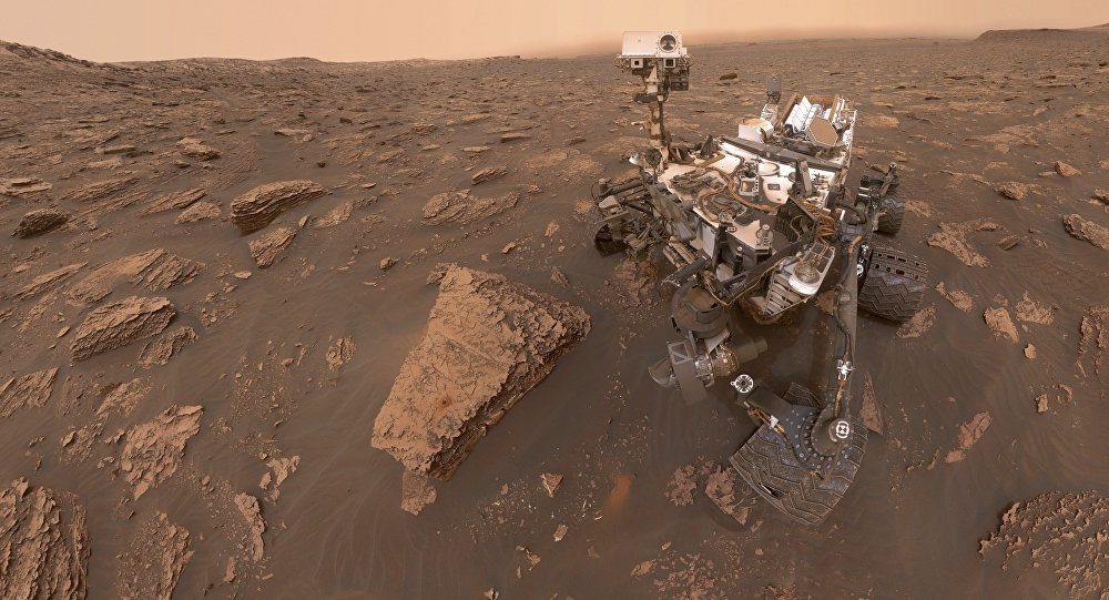 This composite image made from a series of June 15, 2018 photos shows a self-portrait of NASA's Curiosity Mars rover in the Gale Crater
