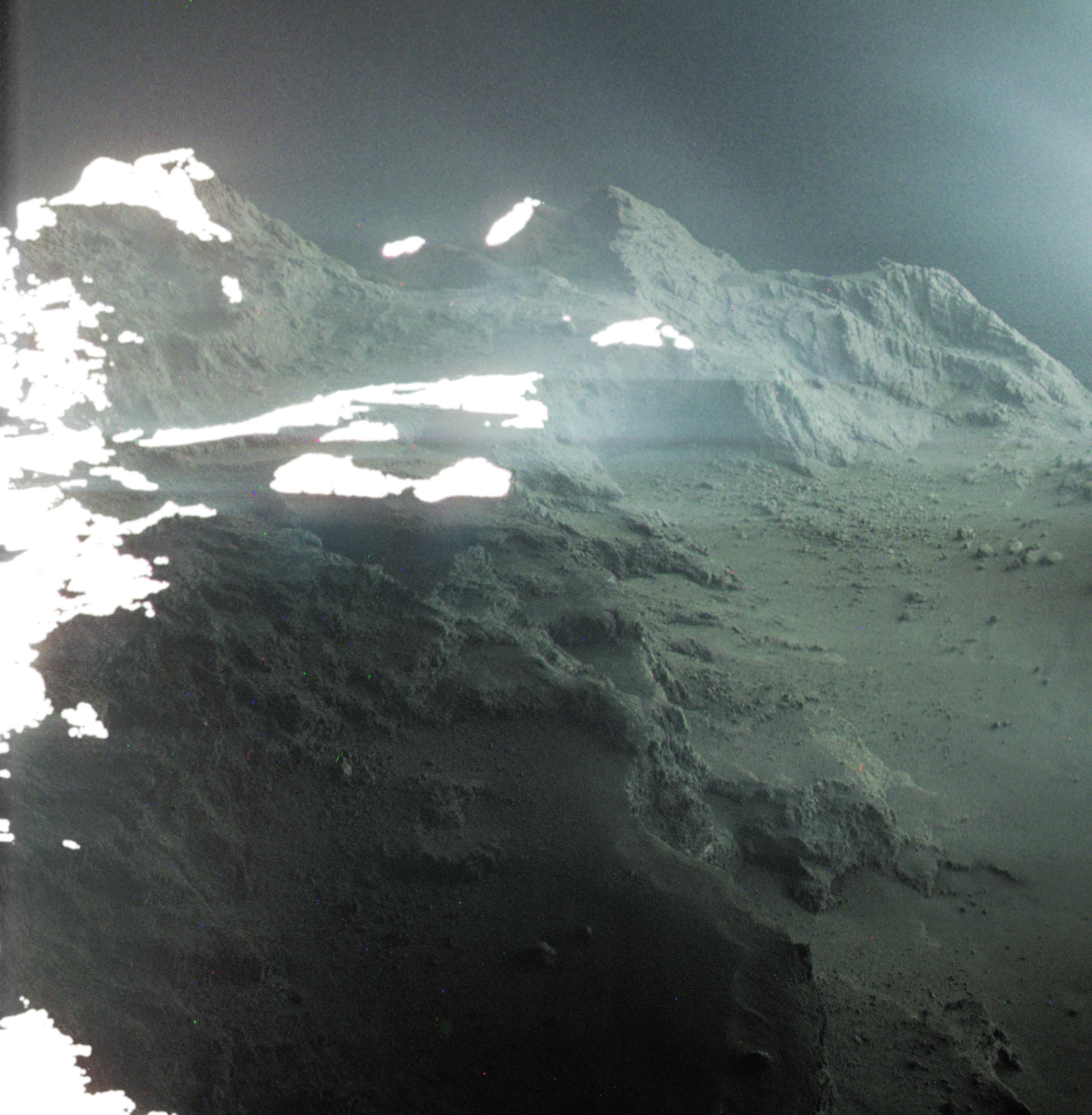 Image captured by ESA's Rosetta spacecraft of the surface of Comet 67P/Churyumov-Gerasimenko
