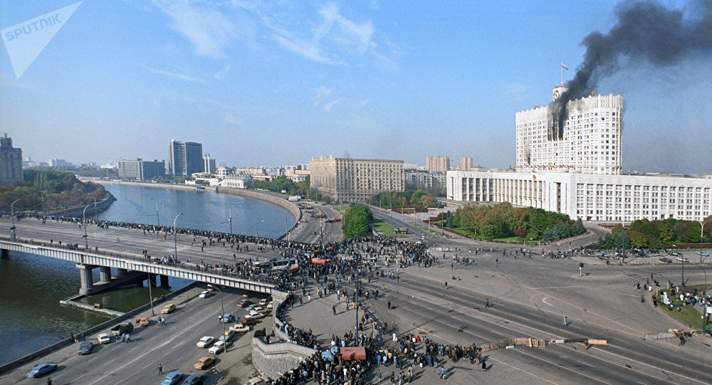 The events of the 3rd-4th October, 1993. View from Kalininsky Bridge near the White House