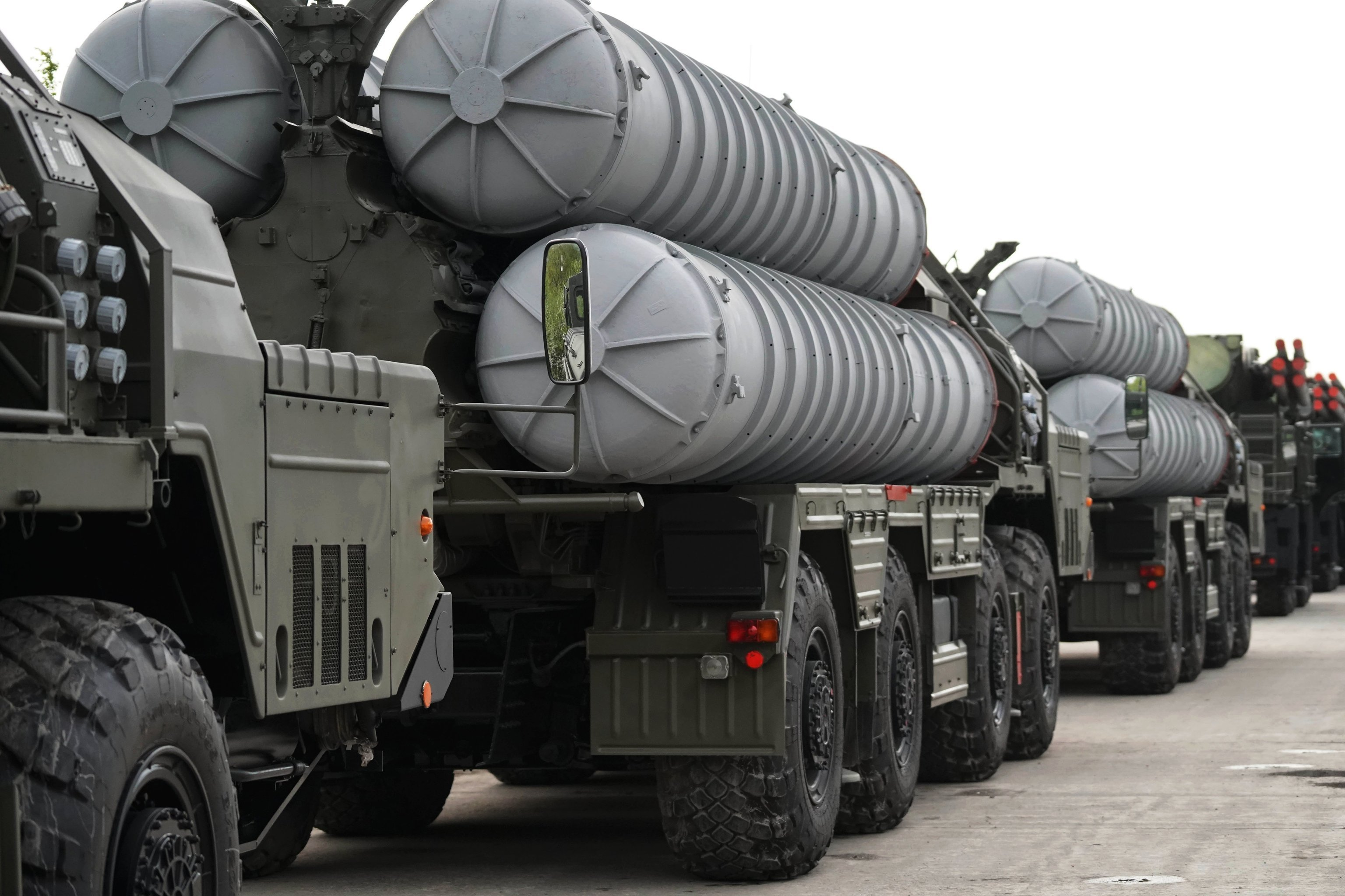 An S-400 anti-aircraft missile system during the preparation of military equipment for the military parade marking the 73rd anniversary of the victory in the Great Patriotic War, in Kaliningrad