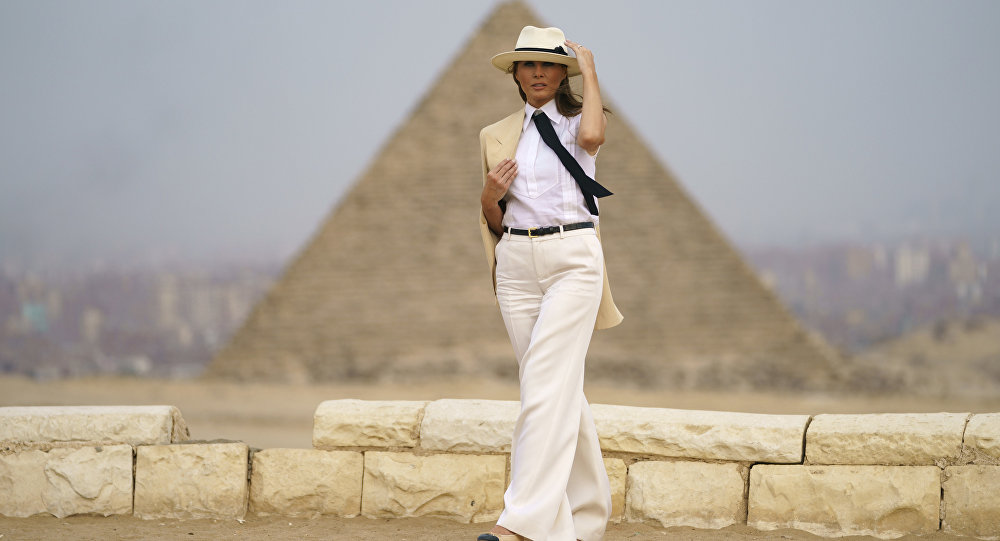 First lady Melania Trump visits the historical site of the Giza Pyramids in Giza, near Cairo, Egypt. Saturday, Oct. 6, 2018