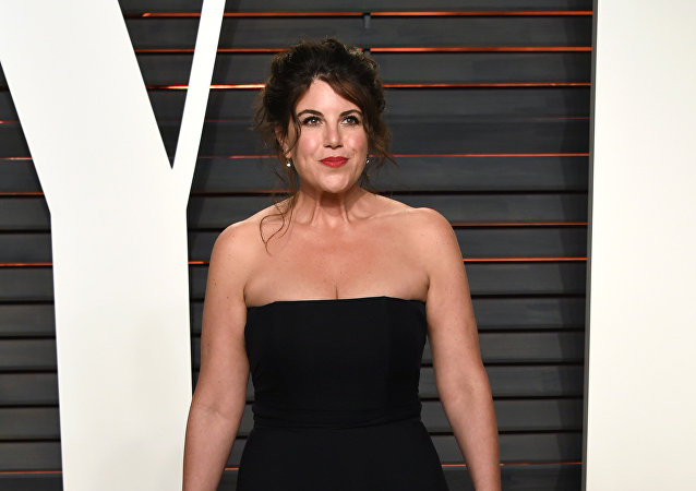 Monica Lewinsky arrives at the Vanity Fair Oscar Party on Sunday, Feb. 28, 2016, in Beverly Hills, Calif.