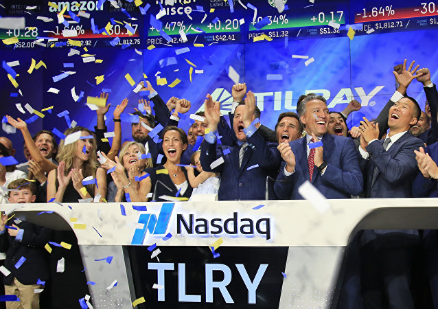 Confetti falls to celebrate IPO of British Columbia-based Tilray Inc., a major Canadian marijuana grower July 19, 2018.