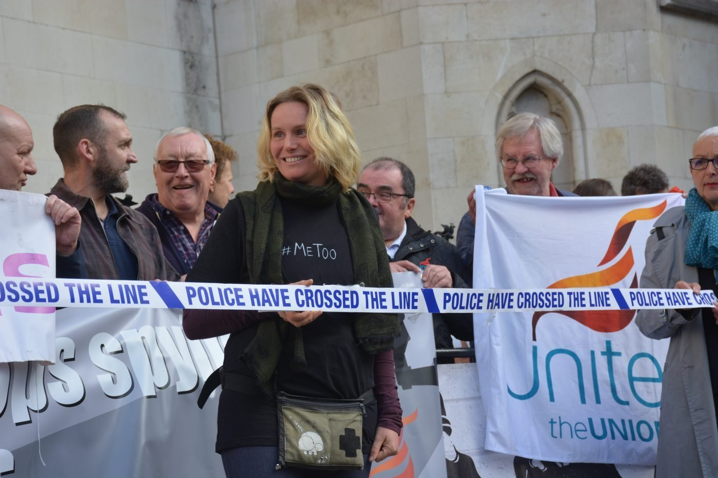 A Victorious Kate Wilson Outside the Royal Courts of Justice © Police Spies Out Of Lives