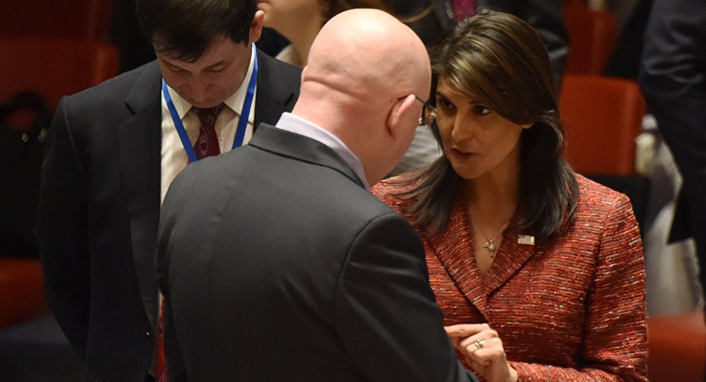 US ambassador to the United Nations, Nikki Haley talks with the Russian Ambassador to the United Nations Vassily Nebenzia