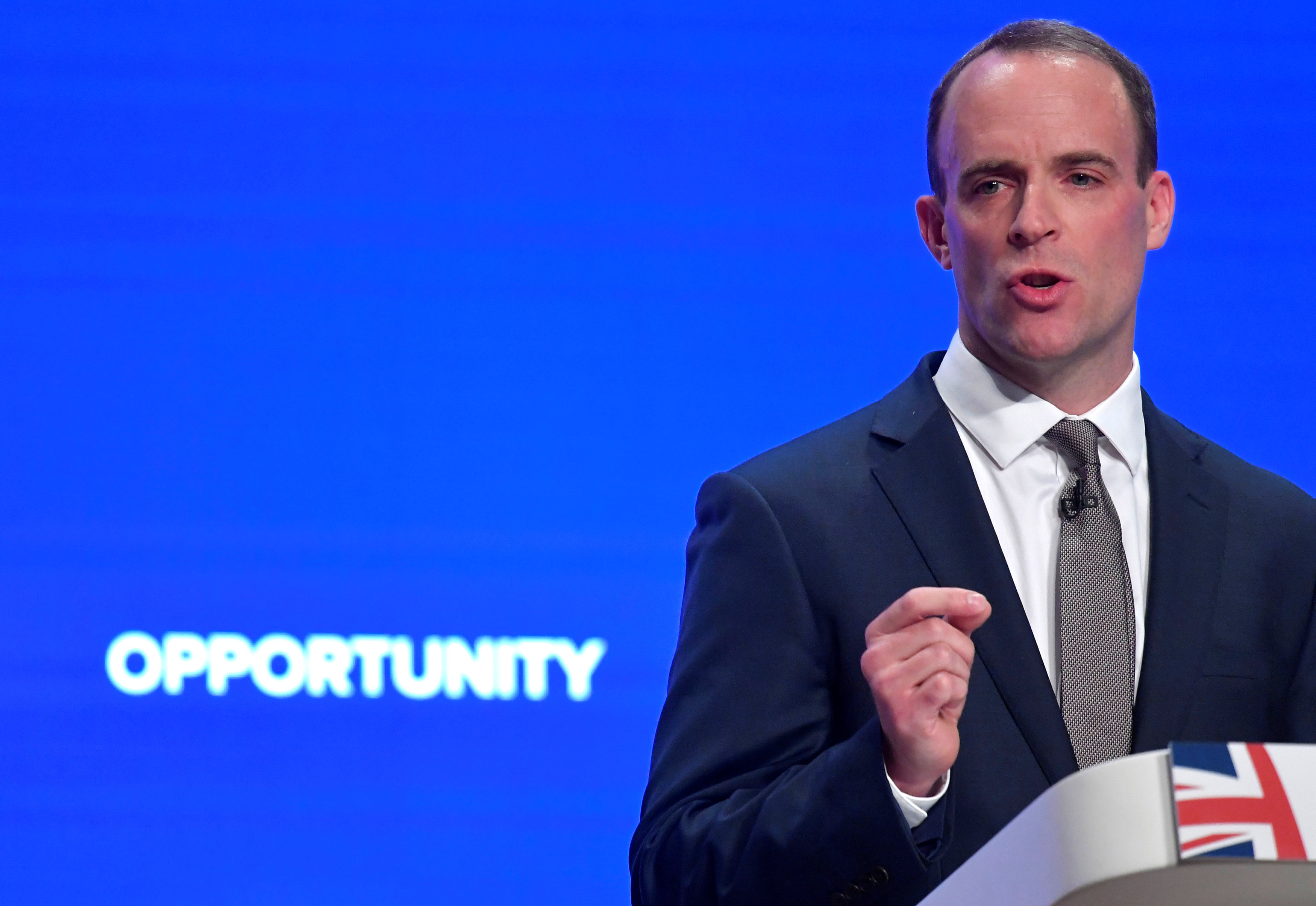 Britain's Secretary of State for Exiting the European Union Dominic Raab delivers his keynote address to the Conservative Party Conference in Birmingham, Britain, October 1, 2018.