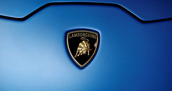 The Lamborghini logo is seen on the second press day of the Paris auto show, in Paris, France, October 3, 2018