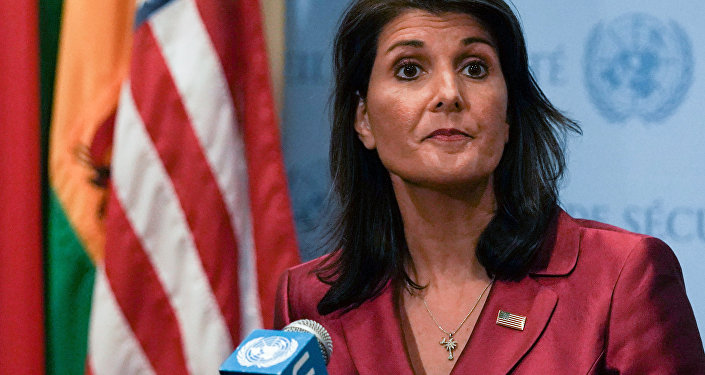 US Ambassador to the United Nations Nikki Haley speaks during a news conference at U.N. headquarters in Manhattan, New York, U.S., September 20, 2018