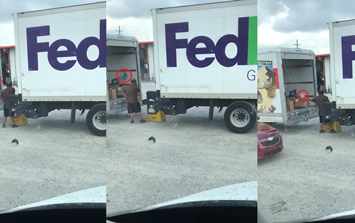 Service with a Spiral: Fed Up FedEx Employee Flings Parcels Into Truck