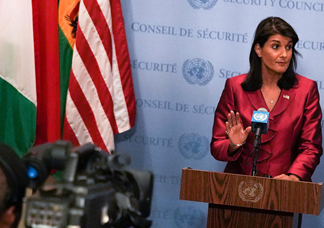 US Ambassador to the United Nations Nikki Haley speaks during a news conference at U.N. headquarters in Manhattan, New York, US, September 20, 2018
