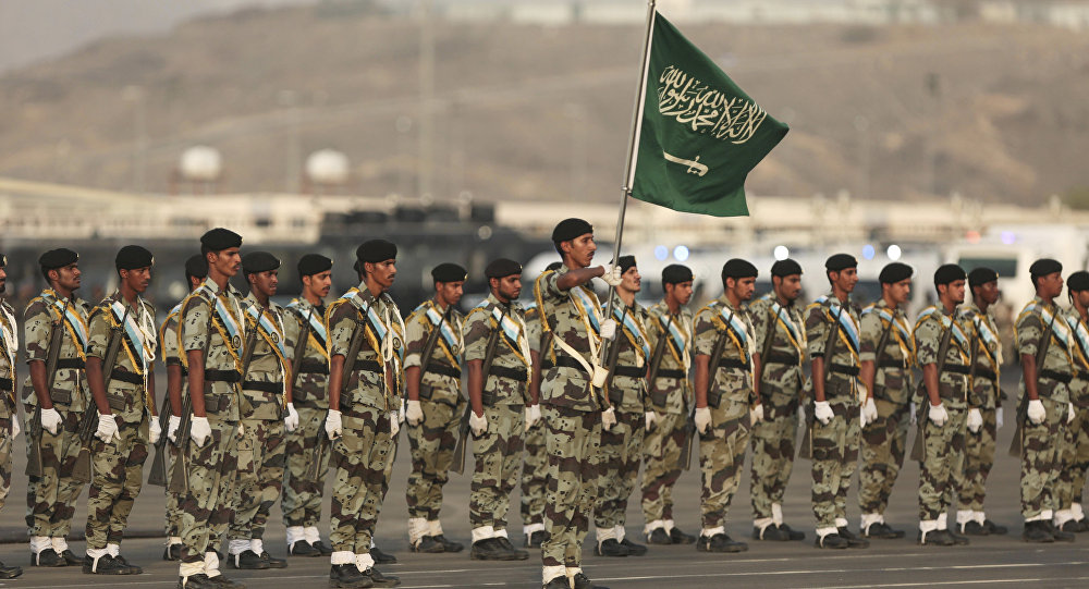 Saudi security forces take part in a military parade in preparation for the annual Hajj pilgrimage in Mecca, Saudi Arabia, Thursday, Sept. 17, 2015