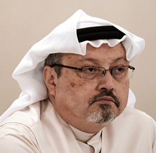 In this file photo taken on December 15, 2014, general manager of Alarab TV, Jamal Khashoggi, looks on during a press conference in the Bahraini capital Manama.