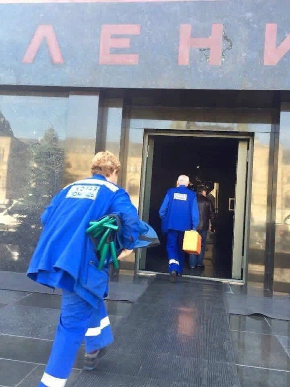 The photo of paramedics running into Lenin's Mausoleum which caused bedlam on social media.