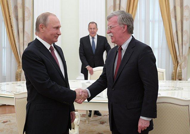 Vladimir Putin meeting with John Bolton. File photo.