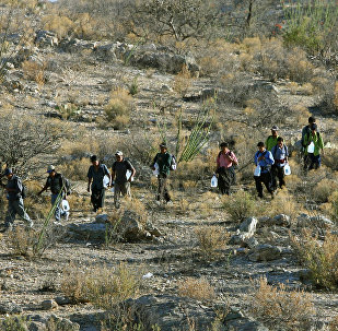 Mexican immigrants walk in line through the Arizona desert near Sasabe
