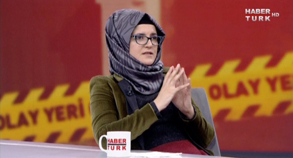 Hatice Cengiz, fiancee of slain Saudi journalist Jamal Khashoggi, during an interview with Turkish broadcaster Haberturk