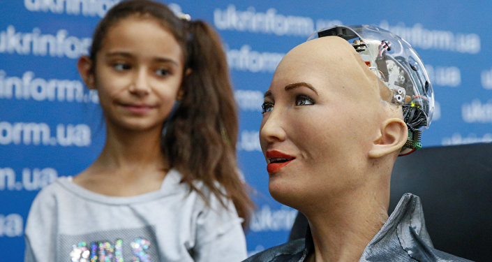 Hanson Robotics' latest and most advanced robot Sophia attends a news conference after a meeting with young inventors and officials in Kiev, Ukraine October 11, 2018