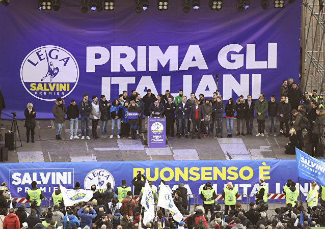 Lega Nord far right party leader Matteo Salvini address supporters during campaign rally on Piazza Duomo in Milan on February 24, 2018