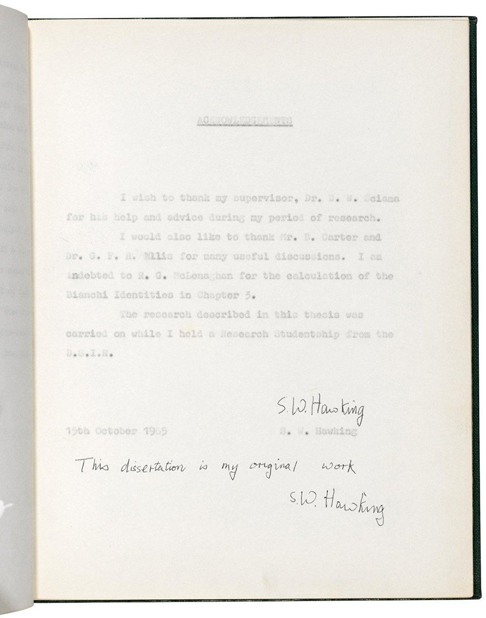 This dissertation is my original work' Stephen Hawking. 15 October 1965 Estimate: GBP 100,000 - GBP 150,000