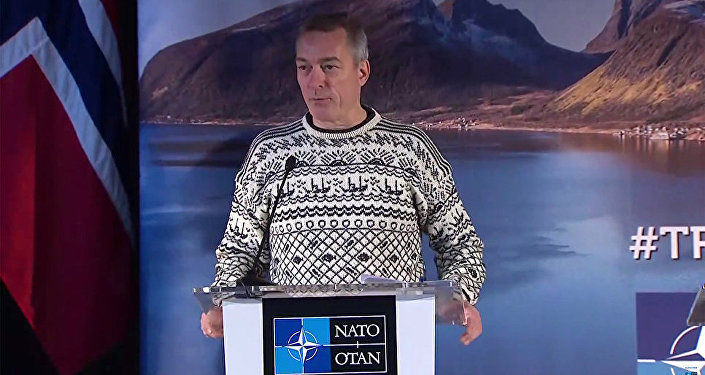 Norwegian Defense Minister Frank Bakke-Jensen at a NATO press conference.