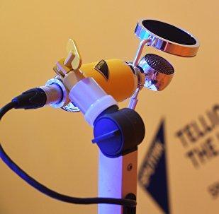 A microphone at Sputnik's radio room at the St. Petersburg International Economic Forum 2018