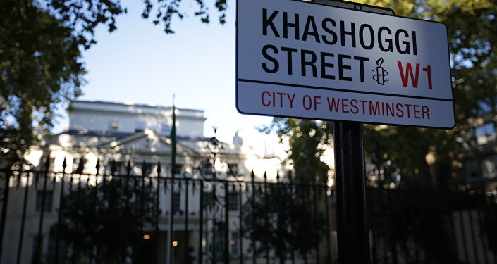 'Khashoggi Street' sign outside Saudi Arabia embassy in London