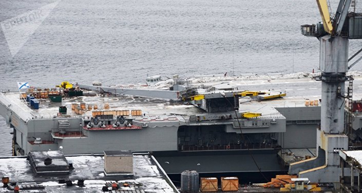 The cruiser Admiral Kuznetsov at ship repair plant