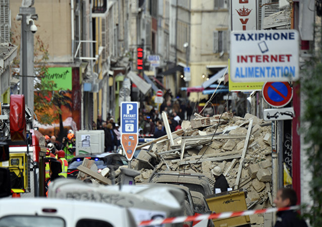 Fire Brigades and Police at Site of Building's Collapse in Marseille
