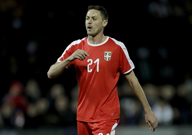 Serbia's Nemanja Matic during the international friendly soccer match between Serbia and Nigeria at The Hive Stadium in London, Tuesday, March 27, 2018. (AP Photo/Matt Dunham)
