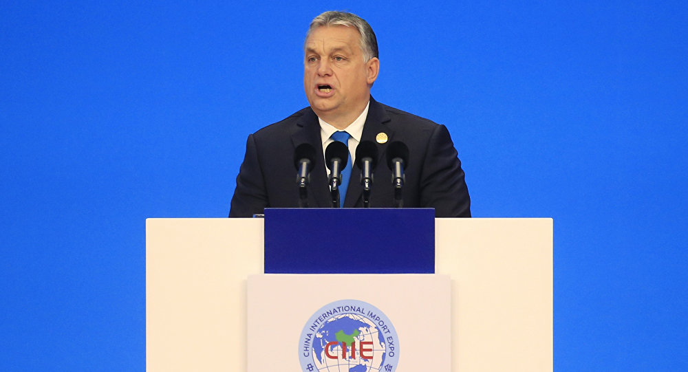 Hungarian Prime Minister Viktor Orban speaks at the opening ceremony of the first China International Import Expo (CIIE) in Shanghai, Monday, Nov. 5, 2018.