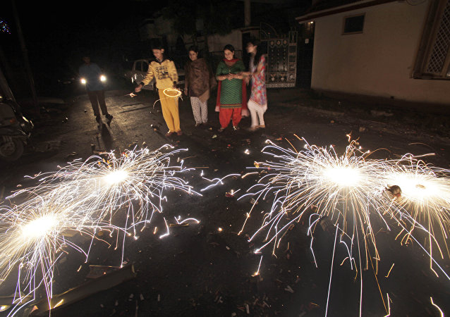 People let off fireworks to celebrate Diwali, the Hindu festival of lights, in Jammu India (File)