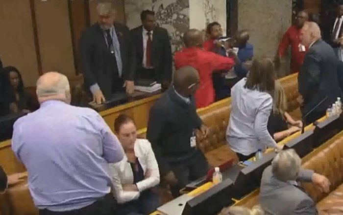 WATCH South African MPs Fight Over Banking Scandal
