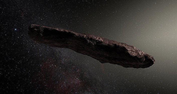 Artist's impression of ʻOumuamua, the first known interstellar object to pass through the Solar System