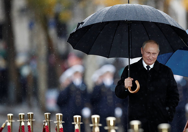 Russian President Vladimir Putin Attends Ceremony for Armistice Day