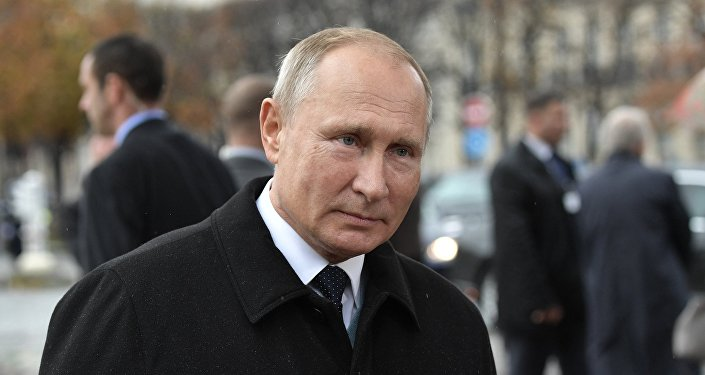 Russian President Vladimir Putin after the flower-laying ceremony at the Monument to Soldiers of the Russian Expeditionary Force Who Fought in France in WWI.