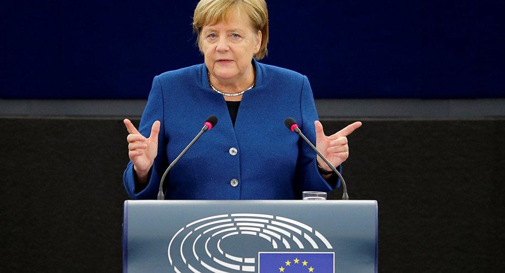 German Chancellor Angela Merkel addresses the European Parliament during a debate on the future of Europe, at the European Parliament in Strasbourg, France, November 13, 2018