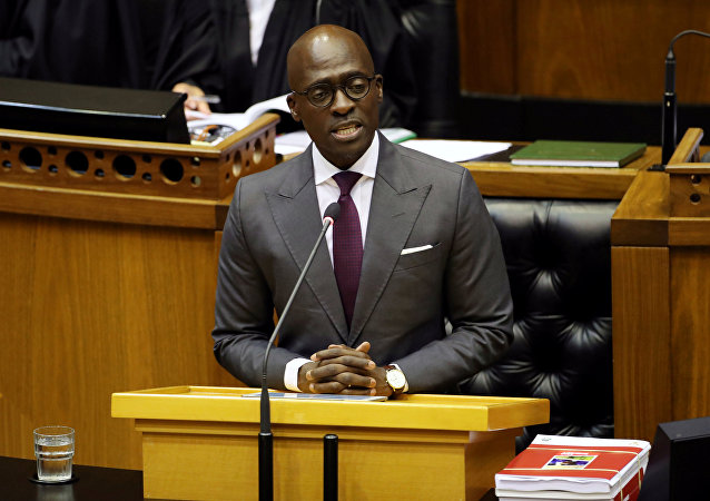 South Africa's Malusi Gigaba delivers his budget address when he was finance minister at Parliament in Cape Town.