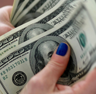 A woman counts U.S. dollar bills (File)