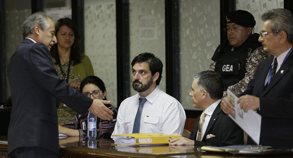 United States citizen Paul Ceglia, white shirt, appears in court to file an appeal against his extradition, requested by the United States, in Quito, Ecuador, Wednesday, Sept. 26, 2018